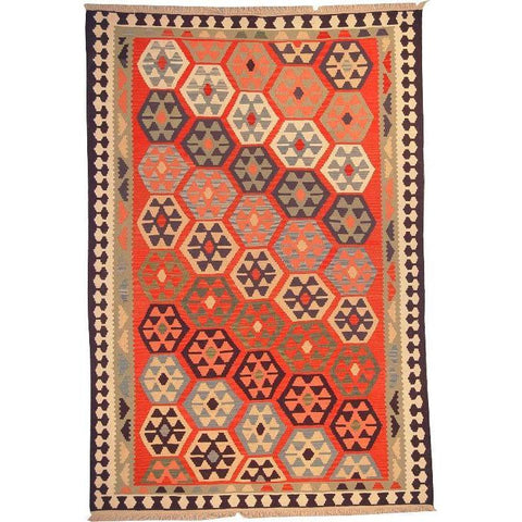 "Ardabil Persian Kilim Collection and Modern Colorful Hand-Knotted Multi Area kilim with Natural Wool and Cotton  9'0"" X 5'10"" ABCK00159"