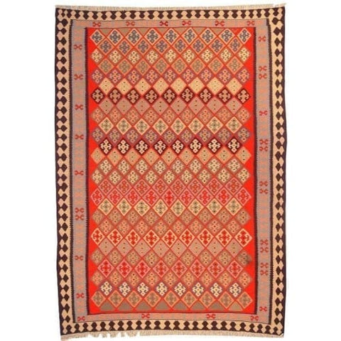 "Ardabil Persian Kilim Collection and Modern Colorful Hand-Knotted Multi Area kilim with Natural Wool and Cotton  8'6"" X 5'10"" ABCK00183"