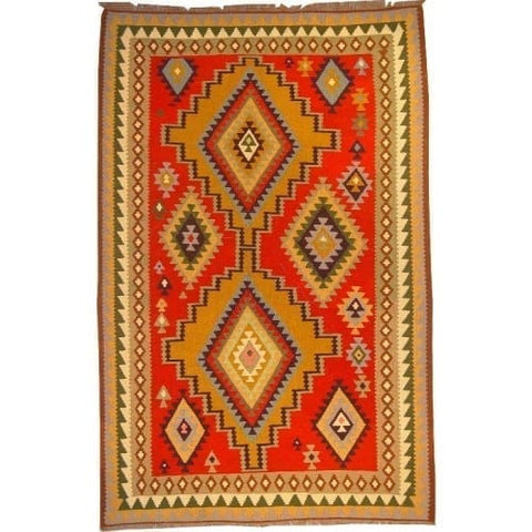"Ardabil Persian Kilim Collection and Modern Colorful Hand-Knotted Multi Area kilim with Natural Wool and Cotton  9'4"" X 5'10"" ABCK00181"
