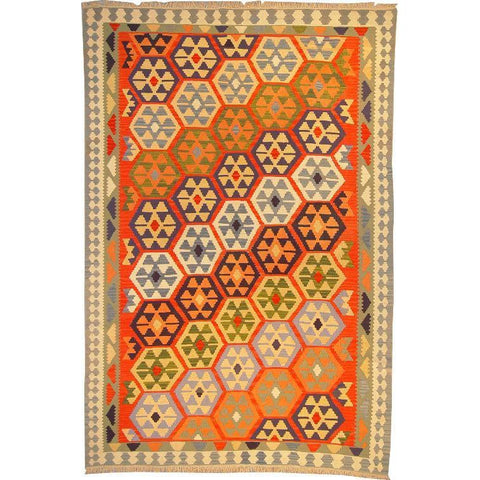 "Ardabil Persian Kilim Collection and Modern Colorful Hand-Knotted Multi Area kilim with Natural Wool and Cotton  9'2"" X 5'10"" ABCK00115"