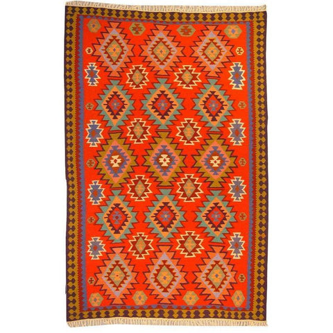 "Ardabil Persian Kilim Collection and Modern Colorful Hand-Knotted Multi Area kilim with Natural Wool and Cotton  9'6"" X 6'2"" ABCK00289"