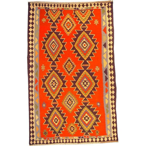 "Ardabil Persian Kilim Collection and Modern Colorful Hand-Knotted Multi Area kilim with Natural Wool and Cotton  9'10"" X 5'10"" ABCK00187"