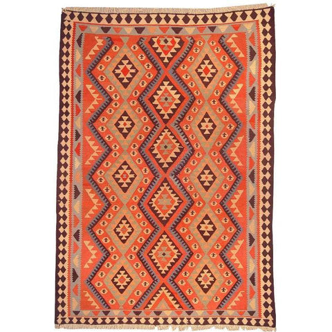 "Ardabil Persian Kilim Collection and Modern Colorful Hand-Knotted Multi Area kilim with Natural Wool and Cotton  8'6"" X 5'8"" ABCK00186"