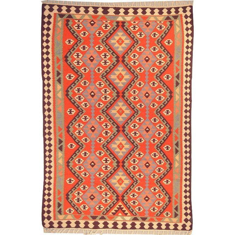 "Ardabil Persian Kilim Collection and Modern Colorful Hand-Knotted Multi Area kilim with Natural Wool and Cotton  9'6"" X 6'2"" ABCK00226"