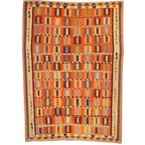 "Ardabil Persian Kilim Collection and Modern Colorful Hand-Knotted Multi Area kilim with Natural Wool and Cotton  8'6"" X 5'10"" ABCK00138"