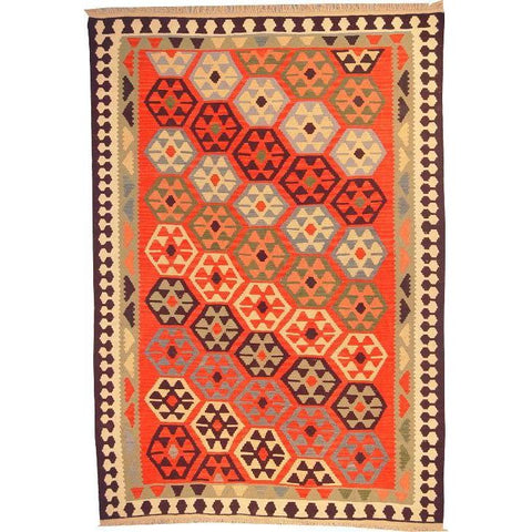 "Ardabil Persian Kilim Collection and Modern Colorful Hand-Knotted Multi Area kilim with Natural Wool and Cotton  8'10"" X 6'0"" ABCK00133"