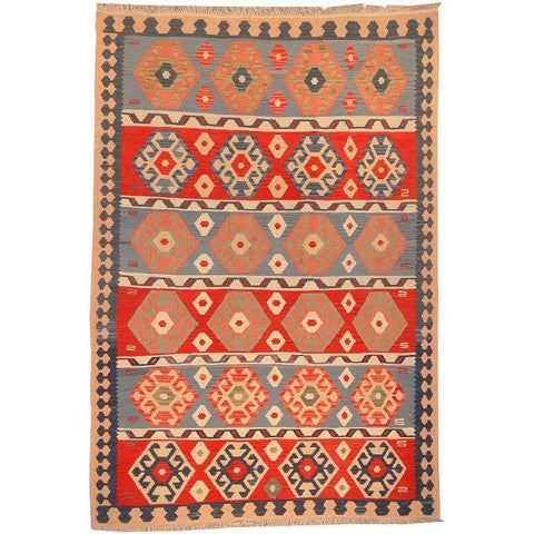 "Ardabil Persian Kilim Collection and Modern Colorful Hand-Knotted Multi Area kilim with Natural Wool and Cotton  9'0"" X 6'0"" ABCK00118"