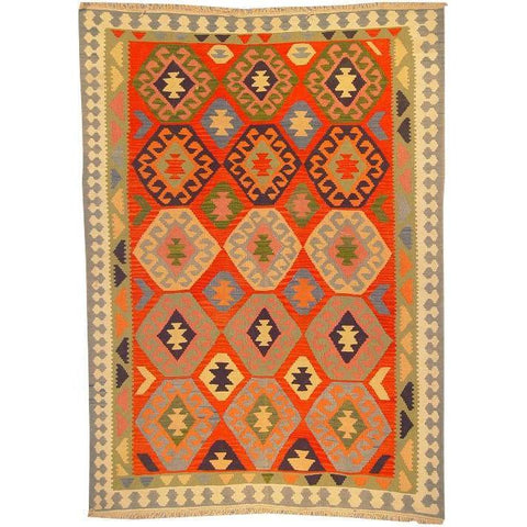 "Ardabil Persian Kilim Collection and Modern Colorful Hand-Knotted Multi Area kilim with Natural Wool and Cotton  8'6"" X 6'0"" ABCK00156"