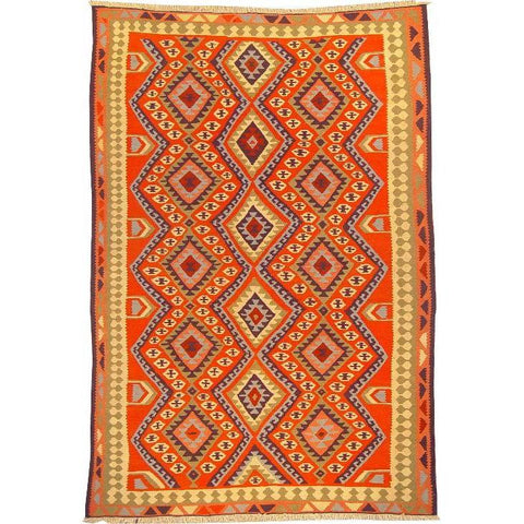 "Ardabil Persian Kilim Collection and Modern Colorful Hand-Knotted Multi Area kilim with Natural Wool and Cotton  8'6"" X 5'8"" ABCK00180"