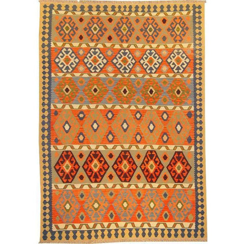 "Ardabil Persian Kilim Collection and Modern Colorful Hand-Knotted Multi Area kilim with Natural Wool and Cotton  8'10"" X 6'0"" ABCK00172"