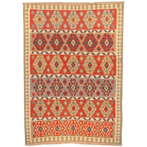 "Ardabil Persian Kilim Collection and Modern Colorful Hand-Knotted Multi Area kilim with Natural Wool and Cotton  8'8"" X 6'2"" ABCK00162"