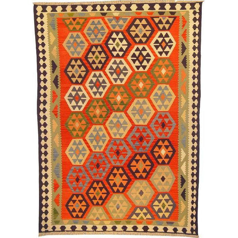 "Ardabil Persian Kilim Collection and Modern Colorful Hand-Knotted Multi Area kilim with Natural Wool and Cotton  8'6"" X 5'10"" ABCK00174"