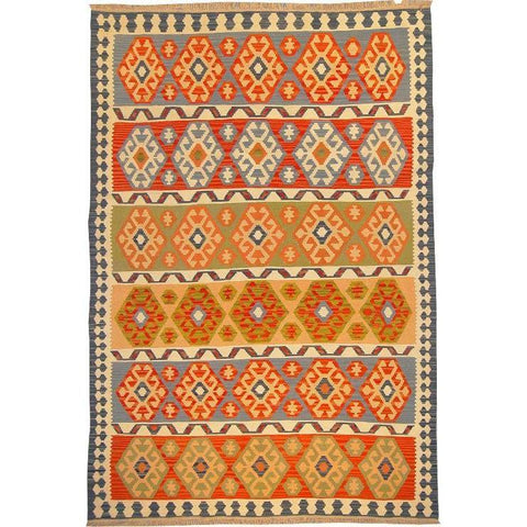 "Ardabil Persian Kilim Collection and Modern Colorful Hand-Knotted Multi Area kilim with Natural Wool and Cotton  9'0"" X 5'10"" ABCK00110"