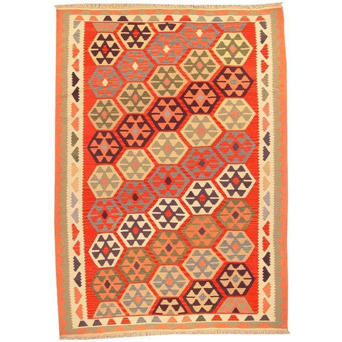 "Ardabil Persian Kilim Collection and Modern Colorful Hand-Knotted Multi Area kilim with Natural Wool and Cotton  8'8"" X 6'2"" ABCK00141"
