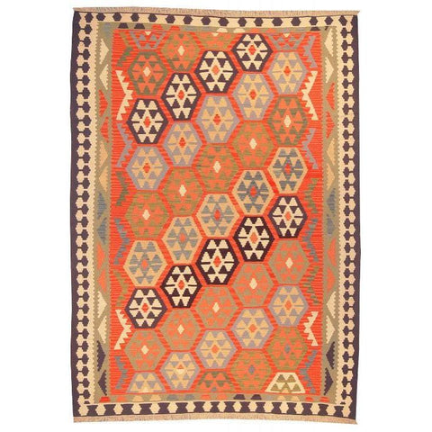 "Ardabil Persian Kilim Collection and Modern Colorful Hand-Knotted Multi Area kilim with Natural Wool and Cotton  8'8"" X 6'2"" ABCK00146"
