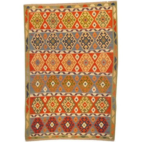 "Ardabil Persian Kilim Collection and Modern Colorful Hand-Knotted Multi Area kilim with Natural Wool and Cotton  9'2"" X 6'2"" ABCK00136"