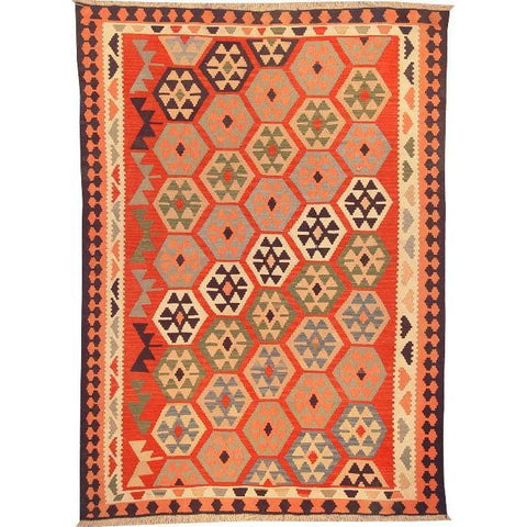 "Ardabil Persian Kilim Collection and Modern Colorful Hand-Knotted Multi Area kilim with Natural Wool and Cotton  8'8"" X 6'0"" ABCK00134"