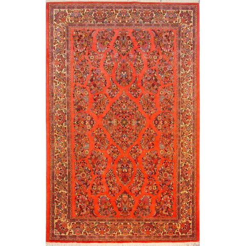 "Authentic Persian Rug sarough Traditional Style Hand-Knotted Indoor Area Rug with Natural Wool and Cotton  8'4""  X  5'1"" ABCR02868"