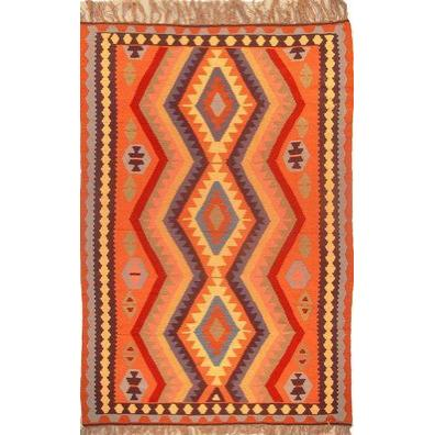 "Ardabil Persian Kilim Collection and Modern Colorful Hand-Knotted Multi Area kilim with Natural Wool and Cotton  9'10"" X 6'6"" ABCK00012"