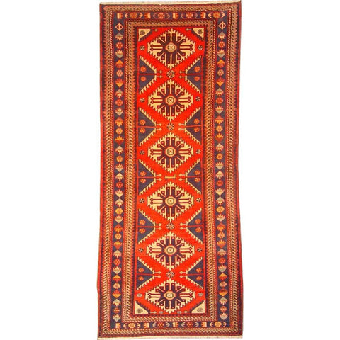"Authentic Persian Rug saveh Traditional Style Hand-Knotted Indoor Area Rug with Natural Wool and Cotton  9'6""  X  3'7"" ABCR02923"