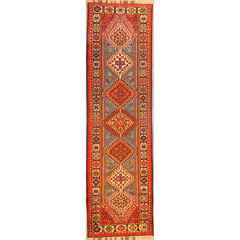 "Authentic Persian Rug yalameh Traditional Style Hand-Knotted Indoor Area Rug with Natural Wool and Cotton  10'0""  X  2'4"" ABCR02904"