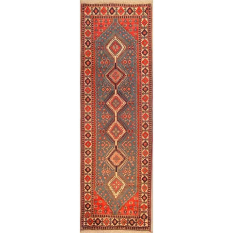 "Authentic Persian Rug yalameh Traditional Style Hand-Knotted Indoor Area Rug with Natural Wool and Cotton  9'9""  X  2'11"" ABCR02907"