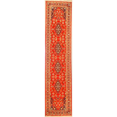 "Authentic Persian Rug yazd Traditional Style Hand-Knotted Indoor Area Rug with Natural Wool and Cotton  10'0""  X  2'2"" ABCR02887"