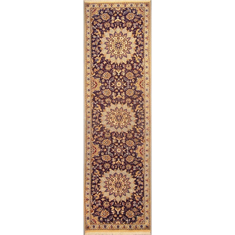 "Authentic Persian Rug nain Traditional Style Hand-Knotted Indoor Area Rug with Natural Wool and Cotton  9'6""  X  2'7"" ABCR02837"