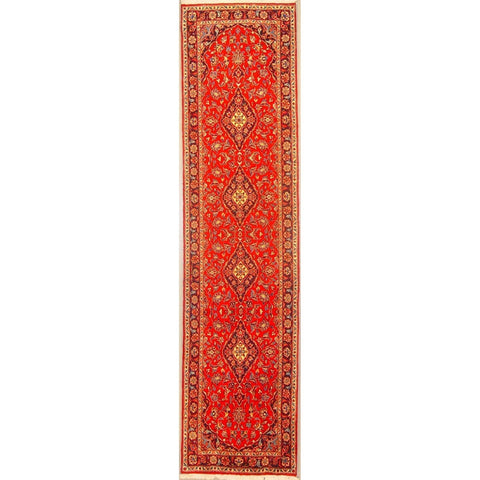 "Authentic Persian Rug yazd Traditional Style Hand-Knotted Indoor Area Rug with Natural Wool and Cotton  9'6""  X  2'2"" ABCR02890"