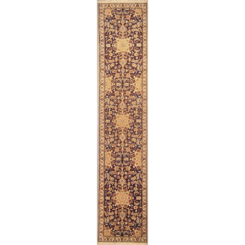 "Authentic Persian Rug nain Traditional Style Hand-Knotted Indoor Area Rug with Natural Wool and Cotton  9'8""  X  1'11"" ABCR02832"