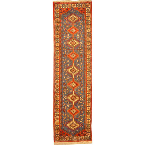 "Authentic Persian Rug yalameh Traditional Style Hand-Knotted Indoor Area Rug with Natural Wool and Cotton  10'4""  X  2'9"" ABCR02910"