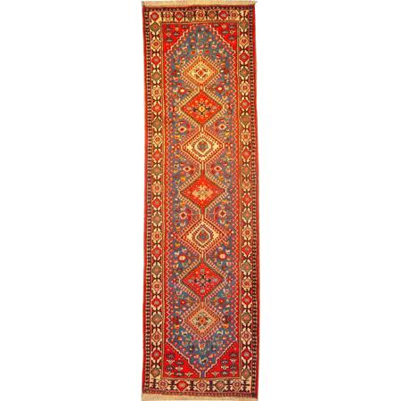 "Authentic Persian Rug yalameh Traditional Style Hand-Knotted Indoor Area Rug with Natural Wool and Cotton  9'1""  X  2'6"" ABCR02129"