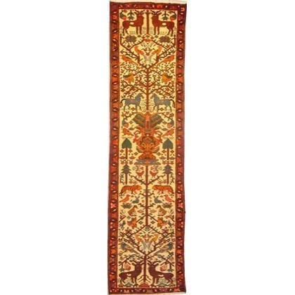 "Authentic Persian Rug saveh Traditional Style Hand-Knotted Indoor Area Rug with Natural Wool and Cotton  9'6""  X  2'5"" ABCR02156"