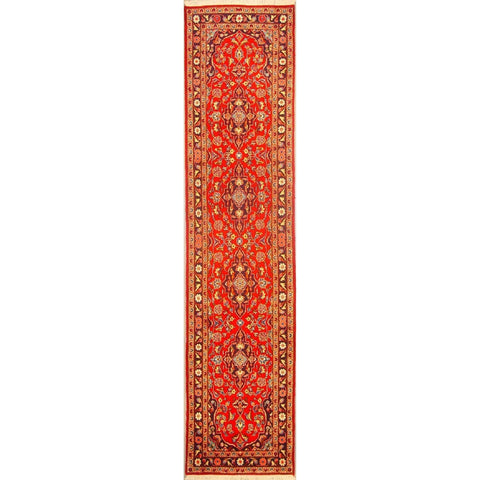 "Authentic Persian Rug yazd Traditional Style Hand-Knotted Indoor Area Rug with Natural Wool and Cotton  10'3""  X  2'4"" ABCR02889"