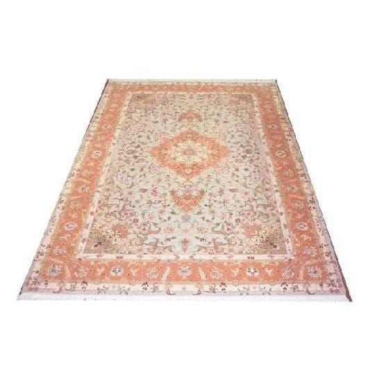 "Authentic Persian Rug tabriz Traditional Style Hand-Knotted Indoor Area Rug with Natural Wool and Cotton  10'9""  X  7'0"" ABCR02222"