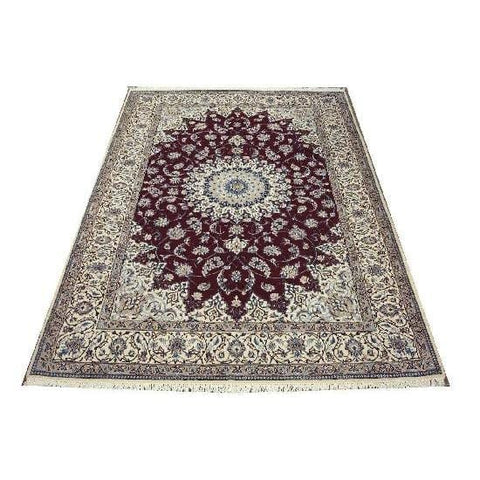 "Authentic Persian Rug nain Traditional Style Hand-Knotted Indoor Area Rug with Natural Wool and Cotton  9'10""  X  6'6"" ABCR02425"