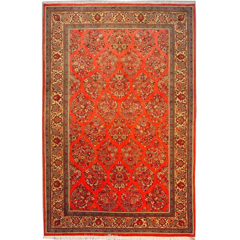 "Authentic Persian Rug sarough Traditional Style Hand-Knotted Indoor Area Rug with Natural Wool and Cotton  8'5""  X  5'5"" ABCR02870"