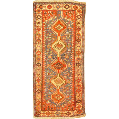 "Authentic Persian Rug yalameh Traditional Style Hand-Knotted Indoor Area Rug with Natural Wool and Cotton  6'6""  X  2'10"" ABCR02900"