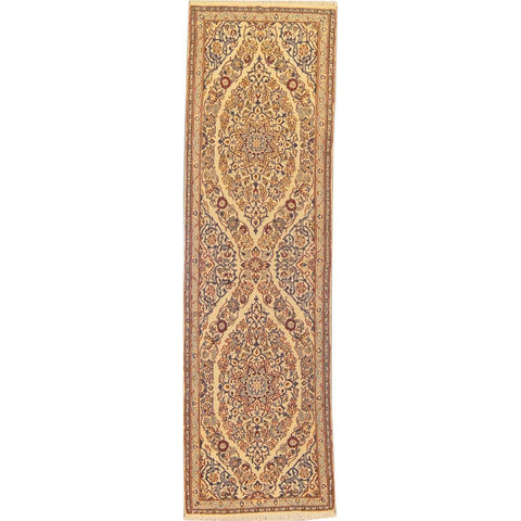 "Authentic Persian Rug nain Traditional Style Hand-Knotted Indoor Area Rug with Natural Wool and Cotton  7'2""  X  2'1"" ABCR02830"