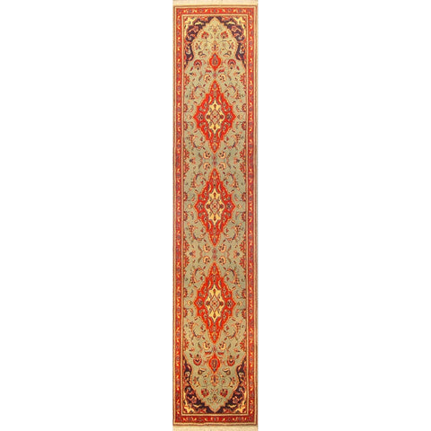 "Authentic Persian Rug yazd Traditional Style Hand-Knotted Indoor Area Rug with Natural Wool and Cotton  11'3""  X  2'3"" ABCR02884"