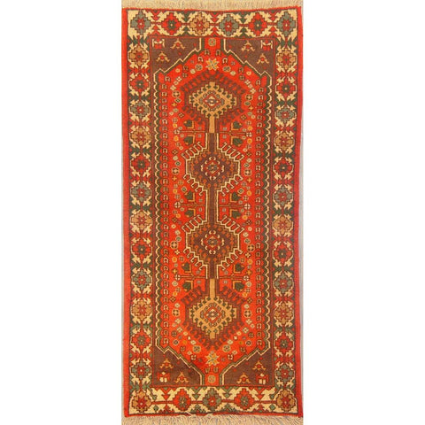"Authentic Persian Rug yalameh Traditional Style Hand-Knotted Indoor Area Rug with Natural Wool and Cotton  6'1""  X  2'7"" ABCR02886"