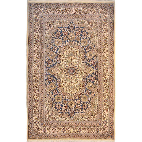 "Authentic Persian Rug nain Traditional Style Hand-Knotted Indoor Area Rug with Natural Wool and Cotton  8'7""  X  5'6"" ABCR02795"