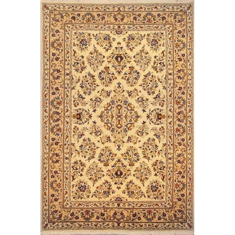 "Authentic Persian Rug yazd Traditional Style Hand-Knotted Indoor Area Rug with Natural Wool and Cotton  9'9""  X  6'5"" ABCR02898"
