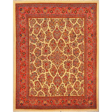 "Authentic Persian Rug sarough Traditional Style Hand-Knotted Indoor Area Rug with Natural Wool and Cotton  8'11""  X  6'11"" ABCR02794"