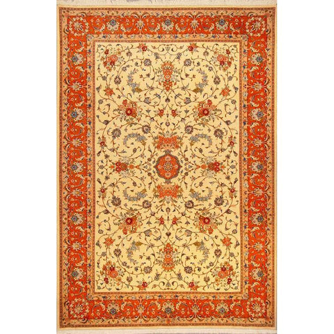 "Authentic Persian Rug zabol Traditional Style Hand-Knotted Indoor Area Rug with Natural Wool and Cotton  9'8""  X  6'6"" ABCR02811"