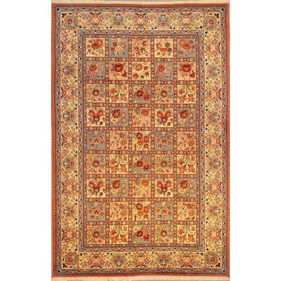 "Authentic Persian Rug yazd Traditional Style Hand-Knotted Indoor Area Rug with Natural Wool and Cotton  9'11""  X  6'5"" ABCR02458"