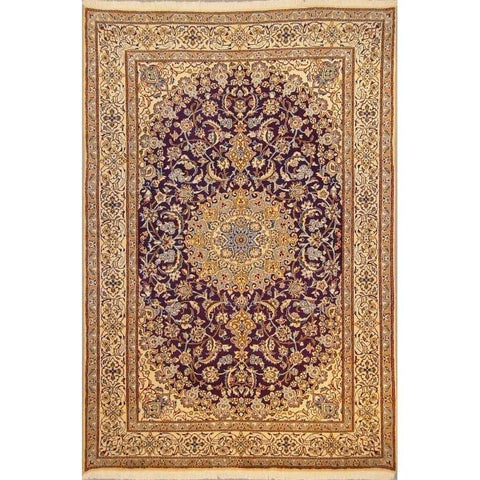 "Authentic Persian Rug nain Traditional Style Hand-Knotted Indoor Area Rug with Natural Wool and Cotton  9'7""  X  6'5"" ABCR02842"