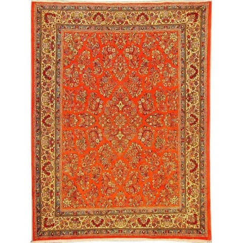 "Authentic Persian Rug sarough Traditional Style Hand-Knotted Indoor Area Rug with Natural Wool and Cotton  9'0""  X  6'6"" ABCR02877"