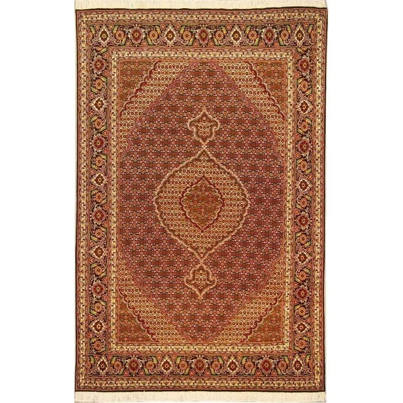 "Authentic Persian Rug tabriz Traditional Style Hand-Knotted Indoor Area Rug with Natural Wool and Cotton  10'4""  X  6'6"" ABCR02180"