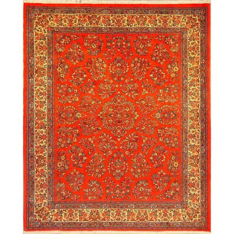 "Authentic Persian Rug sarough Traditional Style Hand-Knotted Indoor Area Rug with Natural Wool and Cotton  8'6""  X  6'11"" ABCR02876"